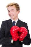 Homem de negócios engraçado do pugilista Fotografia de Stock