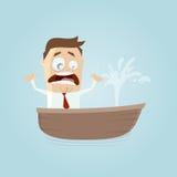 Homem de negócios engraçado em um barco com um escape ilustração stock