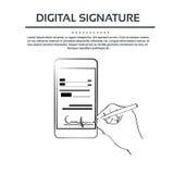 Homem de negócios esperto do telefone celular da assinatura digital Fotos de Stock