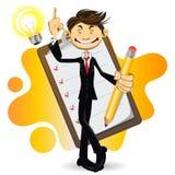 Homem de negócios esperto feito com sua lista de verificação Fotografia de Stock Royalty Free