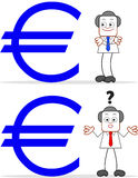 Homem de negócios With Euro dos desenhos animados Fotografia de Stock Royalty Free