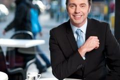 Homem de negócios experiente alegre considerável foto de stock royalty free