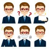 Homem de negócios Expressions Set Imagem de Stock Royalty Free