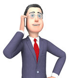 Homem de negócios fala de Smartphone Shows Mobile e rendição 3d empreendedora ilustração royalty free