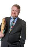 Homem de negócios feliz com dobradores - no branco Imagens de Stock Royalty Free