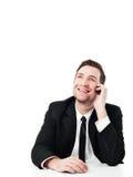 Homem de negócios feliz com telefone móvel Fotos de Stock Royalty Free
