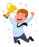 Homem de negócios feliz com troféu e confetes Imagens de Stock