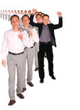 Homem de negócios feliz da colagem do arquivo dos povos Foto de Stock
