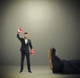 Homem de negócios feliz do vencedor Fotos de Stock Royalty Free