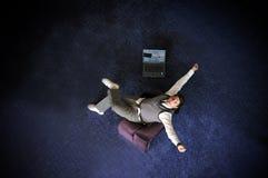 Homem de negócios feliz do vencedor que grita da alegria Imagens de Stock