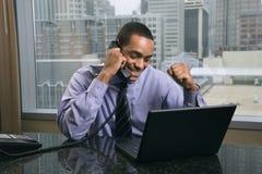 Homem de negócios feliz e Excited Fotografia de Stock