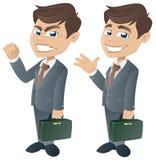 Homem de negócios feliz e irritado Imagem de Stock
