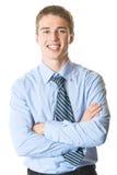 Homem de negócios feliz, isolado imagem de stock