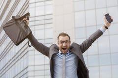 Homem de negócios feliz It's sexta-feira Imagem de Stock Royalty Free