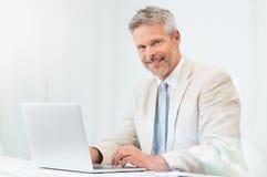 Homem de negócios feliz At Laptop Imagens de Stock