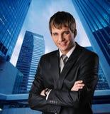 Homem de negócios feliz novo fotografia de stock royalty free