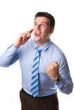 Homem de negócios feliz quando você chamar Imagens de Stock
