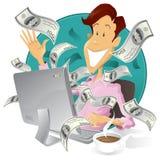 Homem de negócios feliz que faz o dinheiro no Internet Foto de Stock