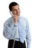 Homem de negócios feliz que olha acima imagens de stock