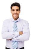Homem de negócios feliz Standing Arms Crossed Foto de Stock