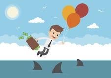 Homem de negócios Flying Over Sharks do vetor dos desenhos animados Fotografia de Stock Royalty Free