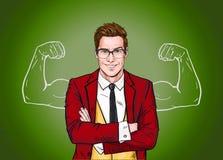 Homem de negócios forte nos vidros no estilo cômico Sucesso Trabalhador ilustração royalty free