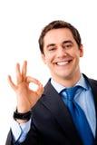Homem de negócios gesticulando feliz Fotografia de Stock Royalty Free