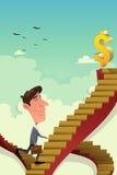 Homem de negócios Going Up em uma escada da carreira Fotografia de Stock Royalty Free