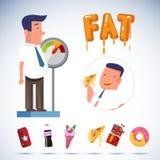 Homem de negócios gordo em pesar o instrumento com comida lixo overweight ilustração royalty free