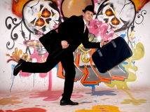 Homem de negócios, grafitti urbano Fotos de Stock Royalty Free
