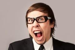 Homem de negócios gritando Imagem de Stock Royalty Free