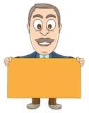 Homem de negócios - guardando uma placa vazia Imagem de Stock Royalty Free