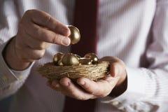 Homem de negócios Holding Nest Full de ovos dourados Imagens de Stock