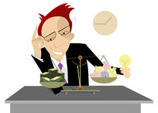 Homem de negócios, ideias e dinheiro ilustração stock