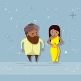 Homem de negócios indiano Businesswoman da raça da mistura do personagem de banda desenhada dos pares do homem e da mulher ilustração do vetor