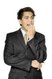 Homem de negócios indiano forçado Nail-biting imagem de stock royalty free