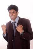 Homem de negócios indiano novo feliz de seu sucesso Fotografia de Stock Royalty Free