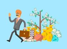 Homem de negócios indiano de sorriso com mala de viagem Imagens de Stock Royalty Free