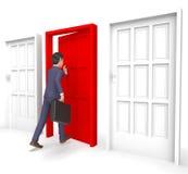 Homem de negócios Indicates Choices Entrepreneur do caráter e maneira 3d Fotografia de Stock