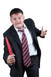 Homem de negócios irritado com faca Foto de Stock Royalty Free