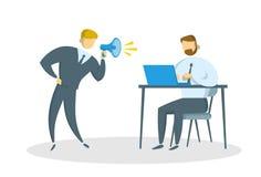 Homem de negócios irritado com a gritaria do megafone no gerente no escritório Tiranizar no trabalho Ilustração lisa do vetor Iso ilustração royalty free