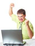 Homem de negócios irritado com portátil Fotos de Stock