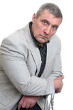 Homem de negócios isolado no branco Foto de Stock Royalty Free