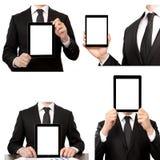 Homem de negócios isolado que guardara um computador da tabuleta de toque fotografia de stock royalty free