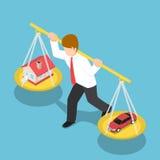Homem de negócios isométrico Carrying House e carro em seu ombro Imagem de Stock Royalty Free