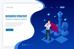 Homem de negócios isométrico que está na placa de xadrez Estratégia, gestão, conceito da liderança Estratégia empresarial ilustração royalty free
