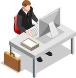 Homem de negócios isométrico Sale Lead Bank Fotografia de Stock Royalty Free