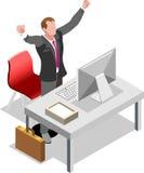 Homem de negócios isométrico Sale Lead Bank ilustração royalty free