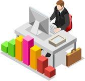 Homem de negócios isométrico Sale Lead Bank Fotos de Stock