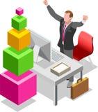 Homem de negócios isométrico Sale Lead Bank Fotos de Stock Royalty Free